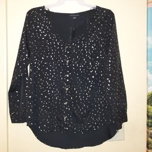 Attention black & gold blouse size XL